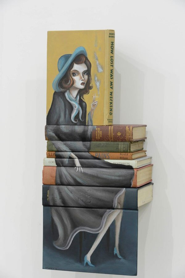 Mike Stilkey book sculpture