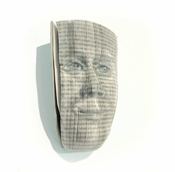 Book paper mask art by Eternalpaper via Etsy