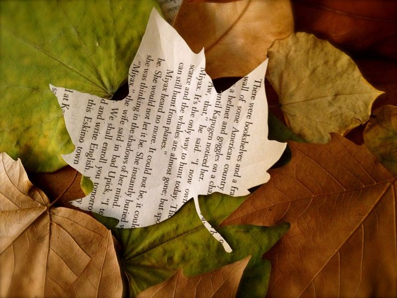 Autumn book sculpture by Kim Kobashi