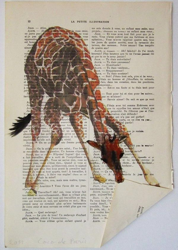 Giraffe Book Art