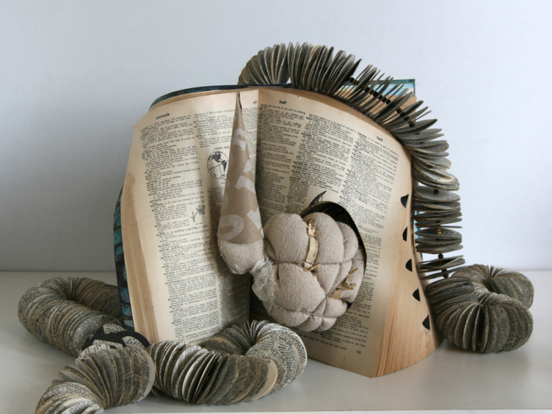 Andrea Singer ENOUGH NEVER 2011 Altered book with sewn figure