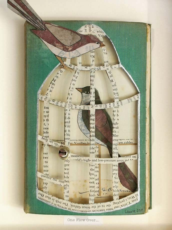 One Flew Over... by Laurie Mitchell - Artist paper bird altered book art