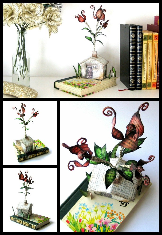 Flowers-in-the-chimney-book-art-sculpture-by-Malena-Valcárcel