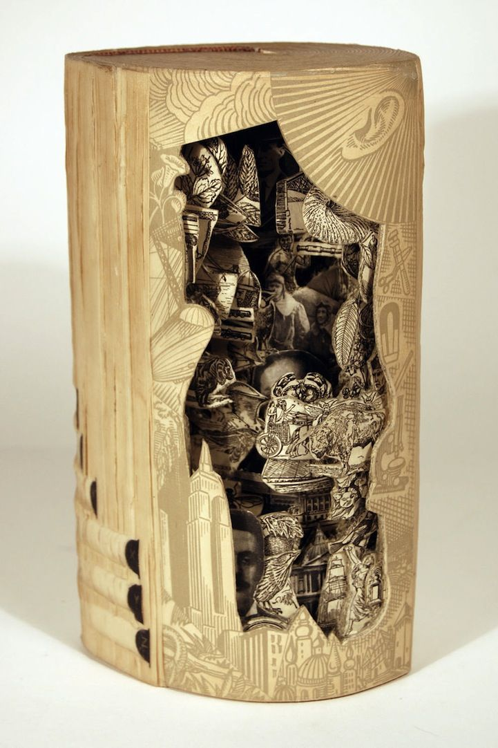 Brian dettmer carved book sculpture