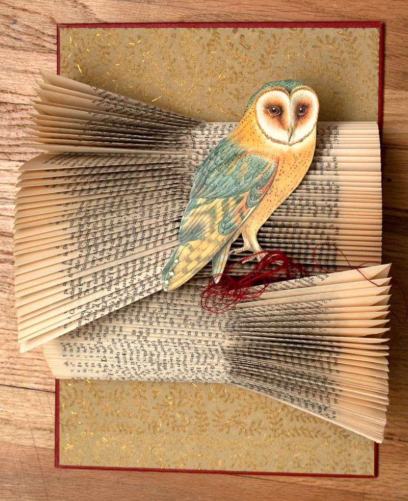 Rachael Ashe Altered Book Art of an Owl