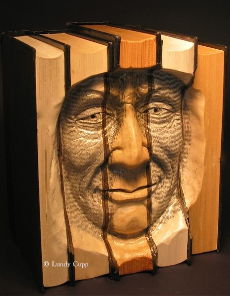 Carved books woodcarving by Lundy Cupp