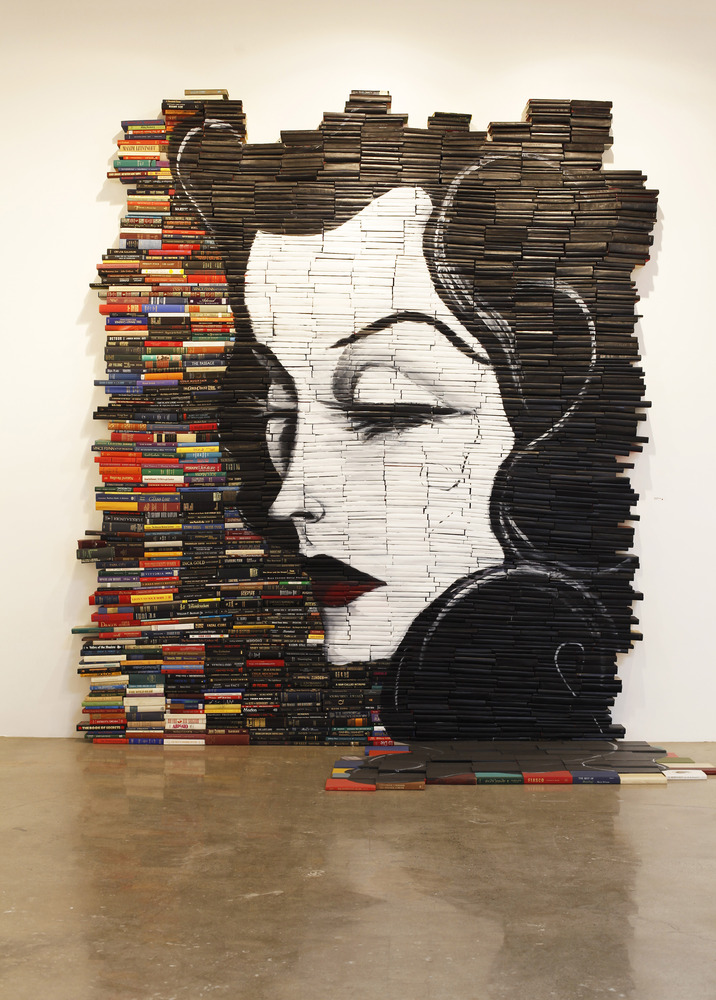 Reminiscent book art from 2010 by Mike Stilkey