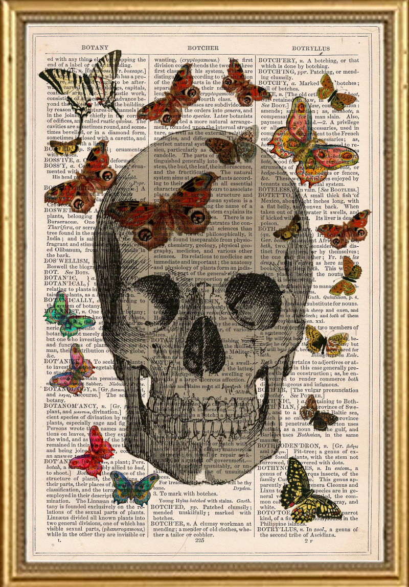 Vintage Dictionary Book Art Print Skull Butterflys by PeregineJewels