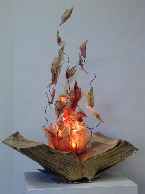 Burning Book Sculpture