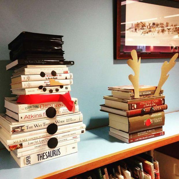 Snowman and Reindeer Book Art