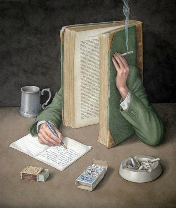 Book Art by Jonathan Wolstenholme Book with Cigarette