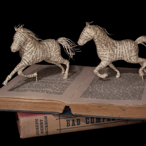 Horse prancing book sculpture by Emma Taylor