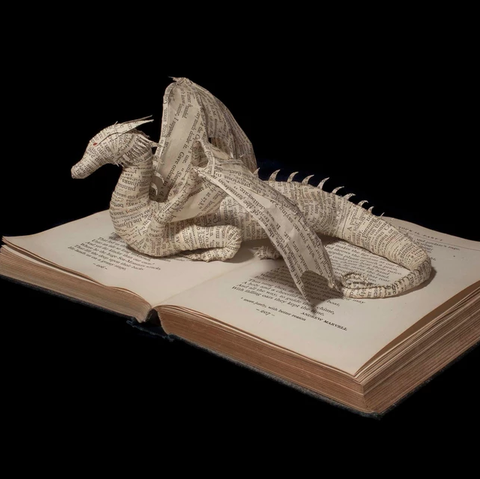 Dragon book sculpture by Emma Taylor